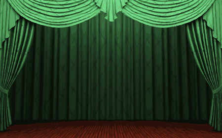 vector green curtain stage