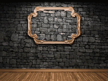 vector illuminated stone wall and frame Vector
