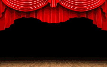 lyric: vector Red velvet curtain opening scene