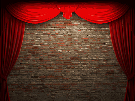lyric: vector velvet curtain and stome wall background