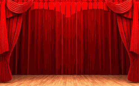 carmine: vector de terciopelo rojo escena de apertura de la cortina Vectores