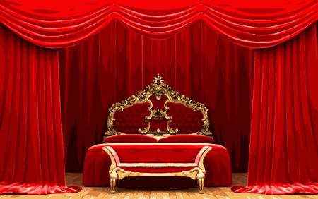 opulence: vector bed on red curtain stage Illustration