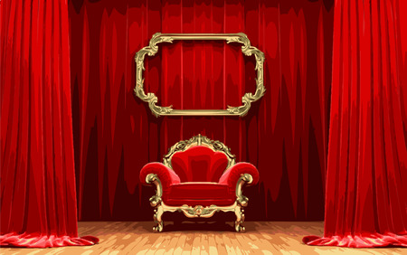 opulent: vector chair on red curtain stage