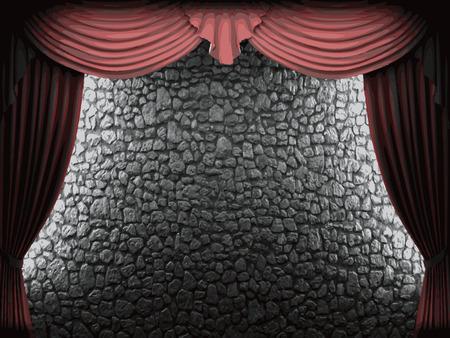 velvet: vector velvet curtain and stome wall background