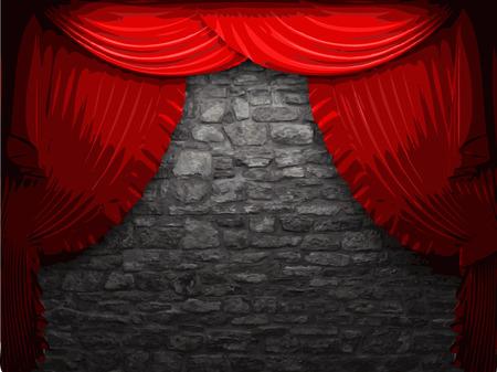 opulence: vector velvet curtain and stone wall background Illustration