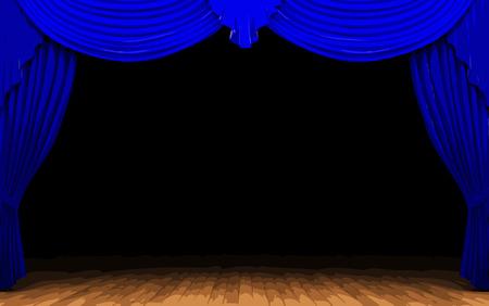 opulent: vector blue curtain stage Illustration