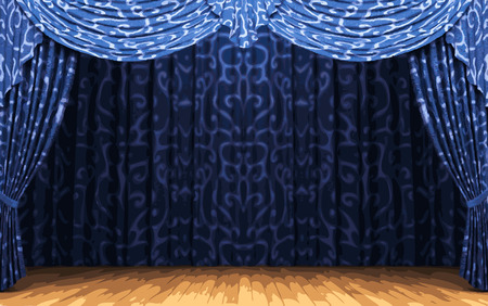 ambience: vector blue curtain stage Illustration