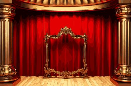 vector golden frame and rev curtain stage Illustration
