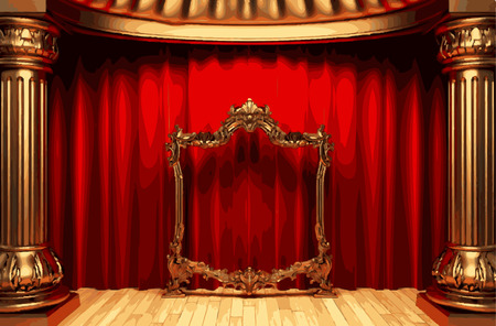 vector golden frame and rev curtain stage Vector
