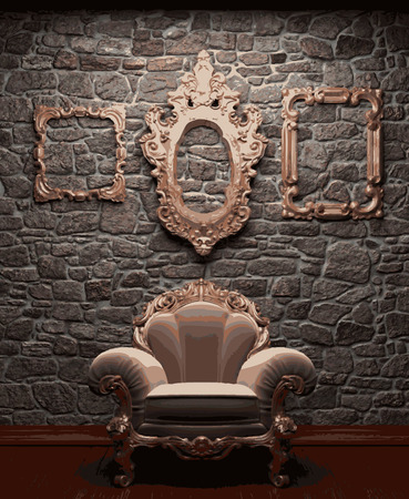 vector illuminated stone wall and chair