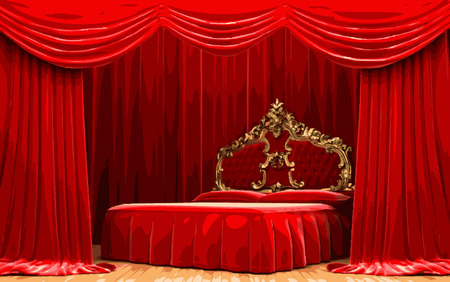 vector bed on red curtain stage Illustration