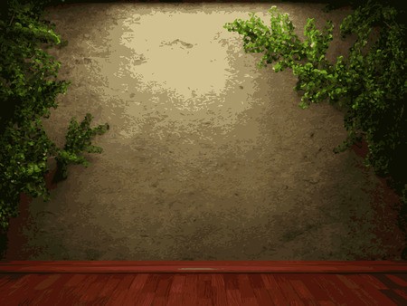 vector ivy and stone background Illustration