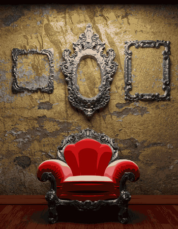 vector chair and frames on concrete background Vector