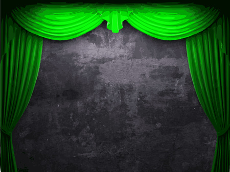 vector velvet curtain and stone wall background Illustration