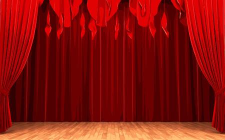 carmine: vector Red velvet curtain opening scene