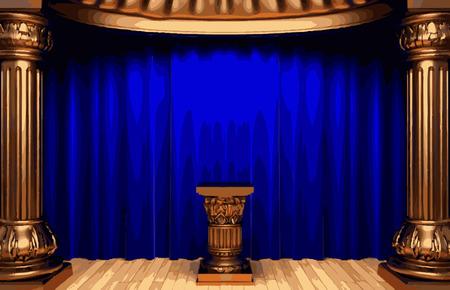 blue curtain: vector blue curtain stage Illustration
