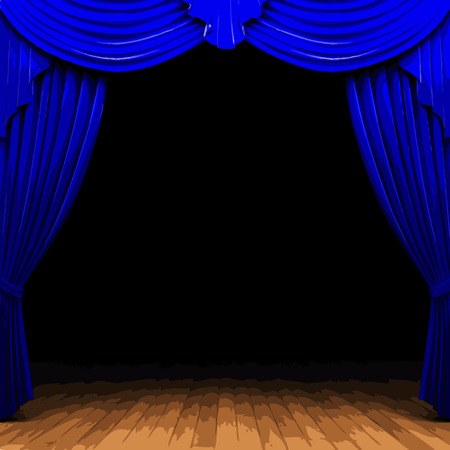 vector blue curtain stage Illustration