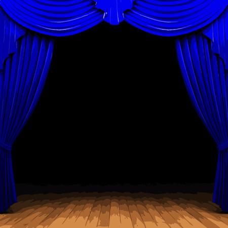 carmine: vector blue curtain stage Illustration