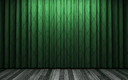 lyric: vector green curtain stage