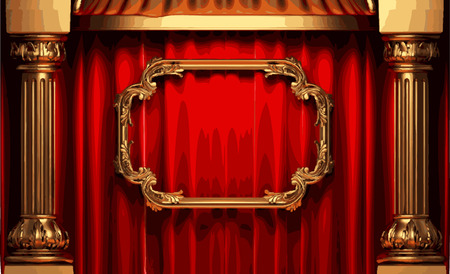 vector golden frame and rev curtain stage Vettoriali