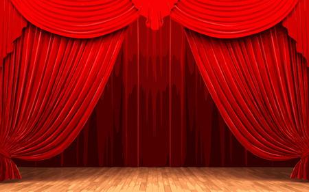 opulent: vector Red velvet curtain opening scene
