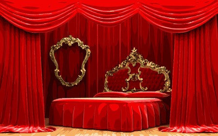 opulent: vector bed on red curtain stage Illustration