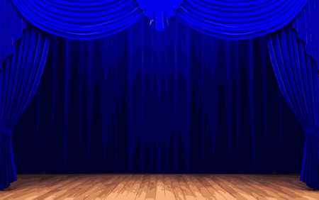 opulence: vector blue curtain stage Illustration