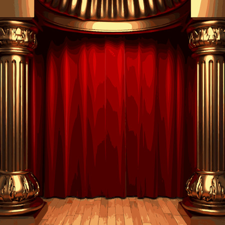 vector red velvet curtain stage