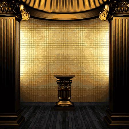 vector bronze columns, pedestal and tile wall Vector