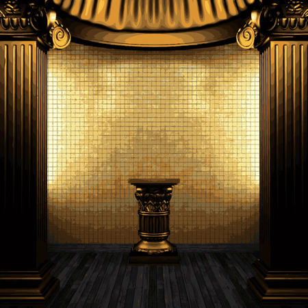tile wall: vector bronze columns, pedestal and tile wall