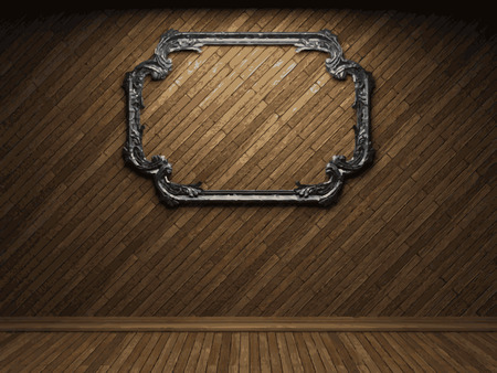 vector illuminated wooden wall and frame background Vector