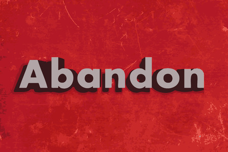 Abandon vector word on red concrete wall