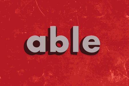 able: able vector word on red concrete wall Illustration