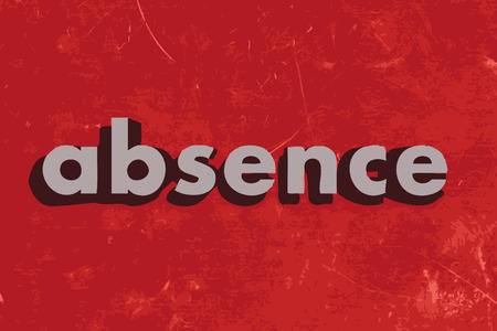 absence: absence vector word on red concrete wall