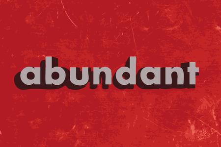 abundant: abundant vector word on red concrete wall Illustration