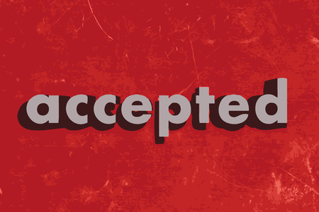 accepted: accepted vector word on red concrete wall Illustration