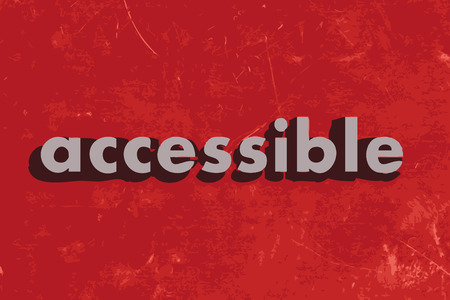 accessible: accessible vector word on red concrete wall Illustration