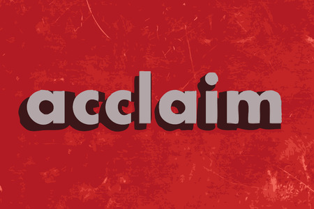 and acclaim: acclaim vector word on red concrete wall