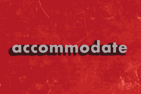 accommodate: accommodate vector word on red concrete wall