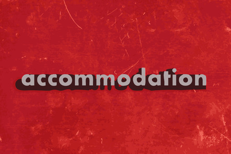accommodation: accommodation vector word on red concrete wall