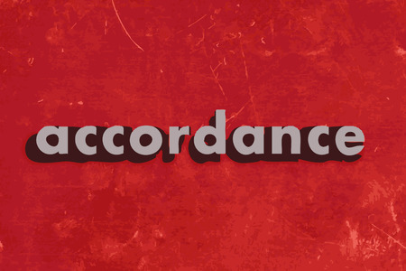 accordance: accordance vector word on red concrete wall Illustration