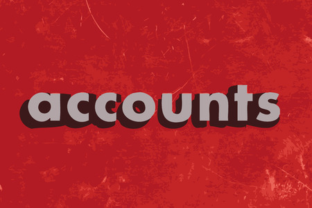 accounts: accounts vector word on red concrete wall Illustration