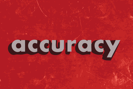 accuracy vector word on red concrete wall Illustration