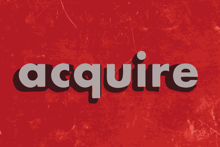 acquire: acquire vector word on red concrete wall Illustration