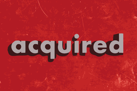 acquired: acquired vector word on red concrete wall Illustration