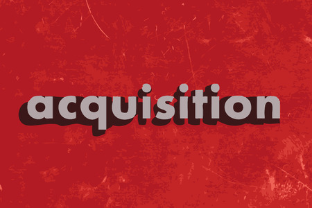 acquisition: acquisition vector word on red concrete wall