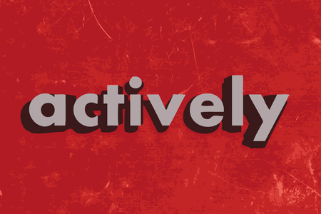 actively: actively vector word on red concrete wall Illustration