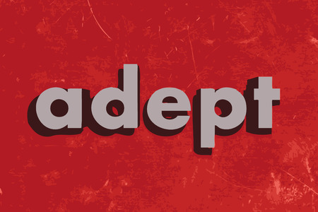 adept: adept vector word on red concrete wall Illustration