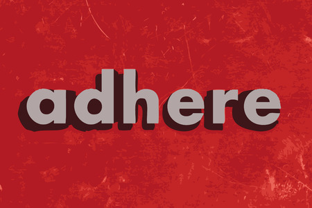adhere: adhere vector word on red concrete wall