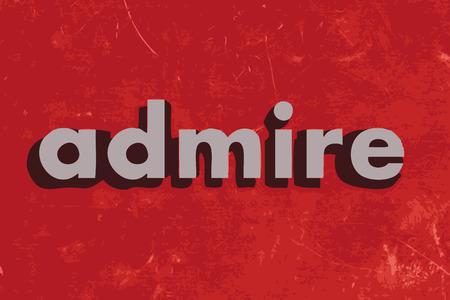 bewonderen: admire vector word on red concrete wall